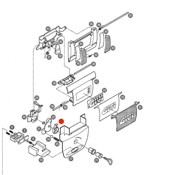 "Givi Κουμπί Z234A Για Άνοιγμα Χερουλιού ""Α"" Ε52 Σχάρες βαλιτσών"